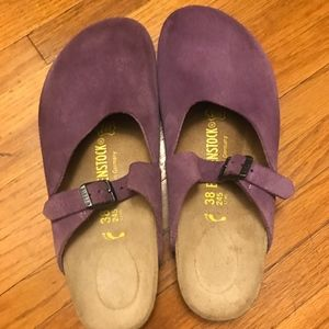 Birkenstock Purple Suede Clogs